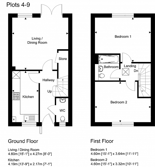 Plots 4-9 Floorplan. For illustration purposes only. Subject to change.