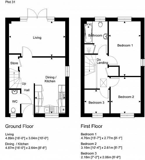 Semi-detached floorplan layout (right side). Artists impression for illustration purposes only. Subject to change.