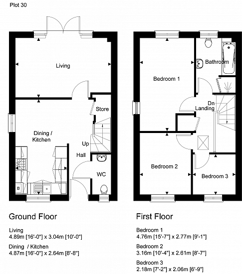 Semi-detached floorplan layout (left side). Artists impression for illustration purposes only. Subject to change.