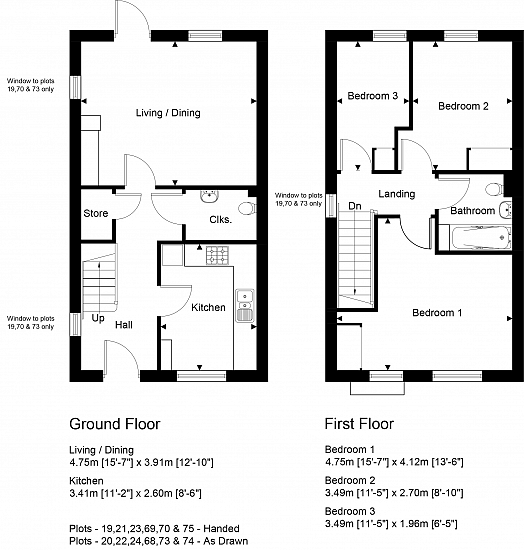 Plots 68 -70 and 73 -75 floorplan